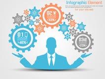 Blu infographic dell'ingranaggio dell'uomo d'affari Fotografia Stock Libera da Diritti