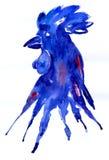 Blu luminoso del gallo dell'acquerello Illustrazione disegnata a mano per la vostra progettazione grafica Gallo - un simbolo dei  Immagini Stock