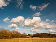 blu luminoso di agricoltura del campo dell'azienda agricola con la natura del paesaggio della campagna delle nuvole Immagine Stock