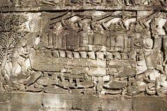 Blu marino del Cham nella battaglia, scultura del tempiale di Bayon Fotografie Stock
