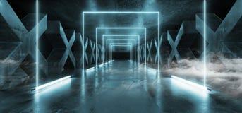 Blu moderno futuristico scuro del percorso di Hall Reflective Neon Glowing Sci Fi di lerciume della nebbia del fumo delle colonne royalty illustrazione gratis