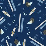 Blu navy del modello di vettore di Memphis Style Geometric Abstract Seamless Royalty Illustrazione gratis