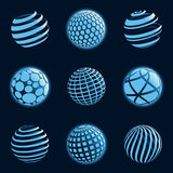 Blu planet icons. Royalty Free Stock Photo