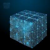 Blu raccolto del cubo di puzzle poli in basso Immagine Stock Libera da Diritti