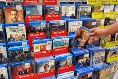 Blu-ray圆盘和DVDs 库存照片