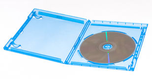Blu-ray disc in case. Full disc case with a blu-ray movie disc on a white background Stock Photo