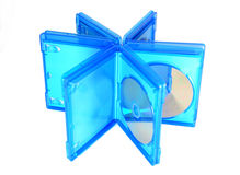 Blu Ray disc cases open. Bluray disk boxes isolated on white background Stock Photos