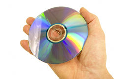 Blu-ray disc. In hand, isolate on white Stock Photography