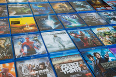 Blu-ray Discs Movies In Market. Blu-ray Discs Movies it's use for Home entertainment many people is audiophile, Videophile Royalty Free Stock Photos