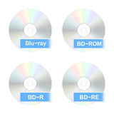 Blu-ray disk icons. Set of realistic Blu-ray disk icons. Vector illustration Stock Image