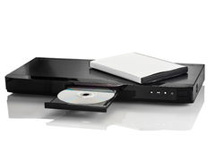 Blu-ray DVD 2. Blue Ray player with a disk on a white background closeup Royalty Free Stock Images