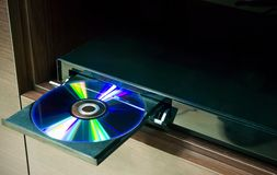 Blu-ray or DVD player. With inserted disc Stock Image