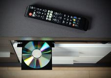 Blu-ray or DVD player with inserted disc Stock Photos