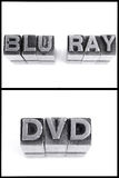 Blu ray and dvd sign in block letters Stock Images