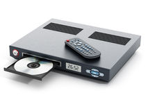 Blu-ray player with open disc tray. And remote controller Stock Image