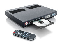 Blu-ray player with open disc tray. And remote controller Royalty Free Stock Images