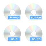 Blu-Ray schijfpictogrammen Stock Afbeelding