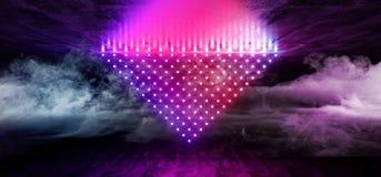 Blu rosa al neon del laser Dots Triangle Shaped Glowing Purple di ballo di Sci Fi della nebbia del fumo della retro fase stranier royalty illustrazione gratis