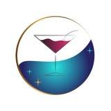 Blu rosa di vetro di Martini Fotografia Stock