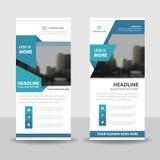 Blu rotoli sulla progettazione dell'insegna dell'aletta di filatoio dell'opuscolo di affari, il fondo geometrico dell'estratto de Fotografie Stock Libere da Diritti