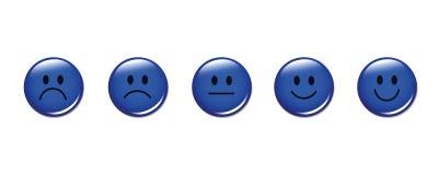 Blu rotondo dei fronti sorridente di valutazione Immagine Stock Libera da Diritti