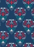 Blu scuro senza cuciture del modello del damasco di vettore di Natale illustrazione vettoriale