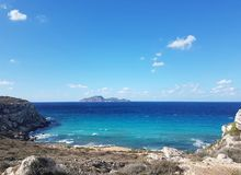 Blu Sea. Summer Sicily Favignana Blu Sea Italy Mediterranean stock photo