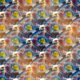 Blu senza cuciture, acquerello giallo rosso fatto a mano Fotografie Stock