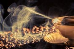 Blu smoke and roasted coffee stock photography