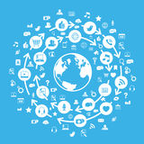 Blu sociale del globo di media del Internet Immagine Stock Libera da Diritti