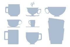Blu sull'illustrazione o sul clipart bianca della siluetta della tazza Fotografie Stock Libere da Diritti