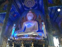 Blu temple in Chiang rai. Buddha blu temple in chiang rai. Inside the temple. cultural experience stock photography