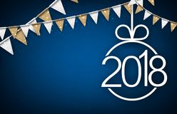 Blu un fondo da 2018 nuovi anni Immagine Stock Libera da Diritti