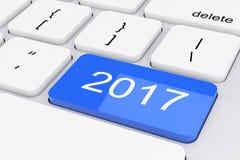 Blu una chiave di 2017 nuovi anni sulla tastiera bianca del PC rappresentazione 3d Immagini Stock Libere da Diritti