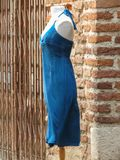 Blu woman dress. On display on a mannequin stock images