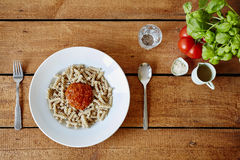 A blub of tomato sauce on pasta fresh decoration Stock Image