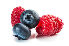 Bluberies and Raspberries Royalty Free Stock Images
