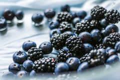 bluberries and blackberries - fresh fruits and healthy eating styled concept royalty free stock photos