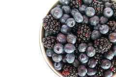 Bluberries and blackberries stock photo