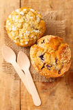 Bluberry and poppy seed muffins in rustic style Royalty Free Stock Image