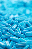 Blue �apsule pills medicine antibiotic Royalty Free Stock Image