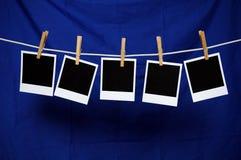 blue över polaroids Arkivbilder