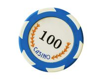 Blue 100 dollars casino chip Stock Photo