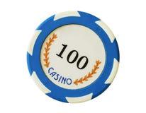 Blue 100 dollars casino chip stock photo