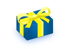 Blue. Gift with yellow ribbon Royalty Free Stock Photo