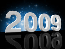 Blue 2009 background. Fine image 3d of 2009 celebration background Stock Images
