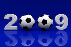 Blue 2009 background. Fine 3d image of 2009 and soccer ball Stock Photography