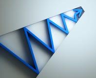 Blue 3D arrow. Blue zig zag arrow graph - 3d illustration Stock Images