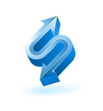 Blue 3d arrow. On white Royalty Free Stock Photos