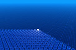 Blue 3D background. Glass spheres on blue graph paper (hires 3D background Stock Image